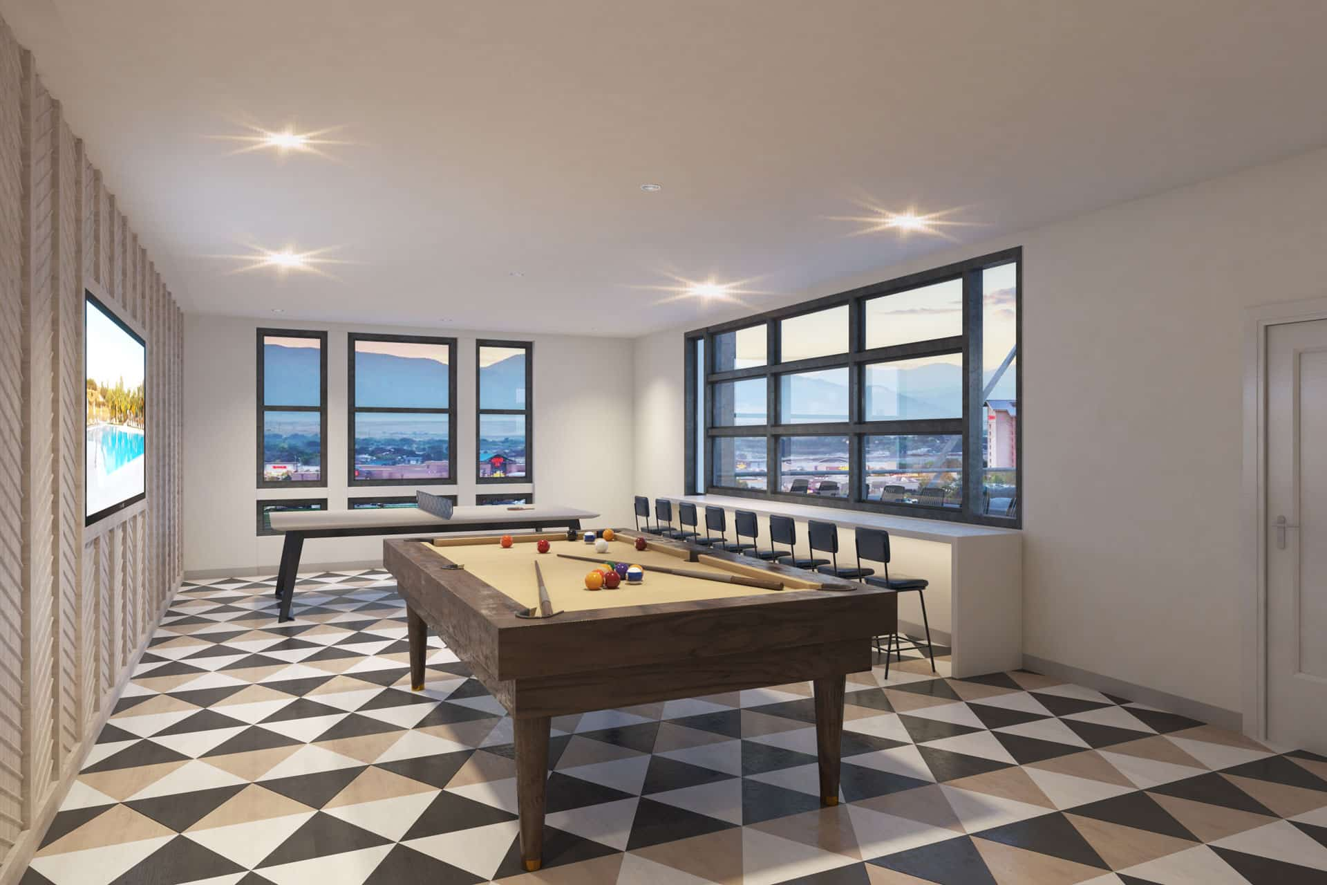 Game Room with Billiard and Ping Pong Tables