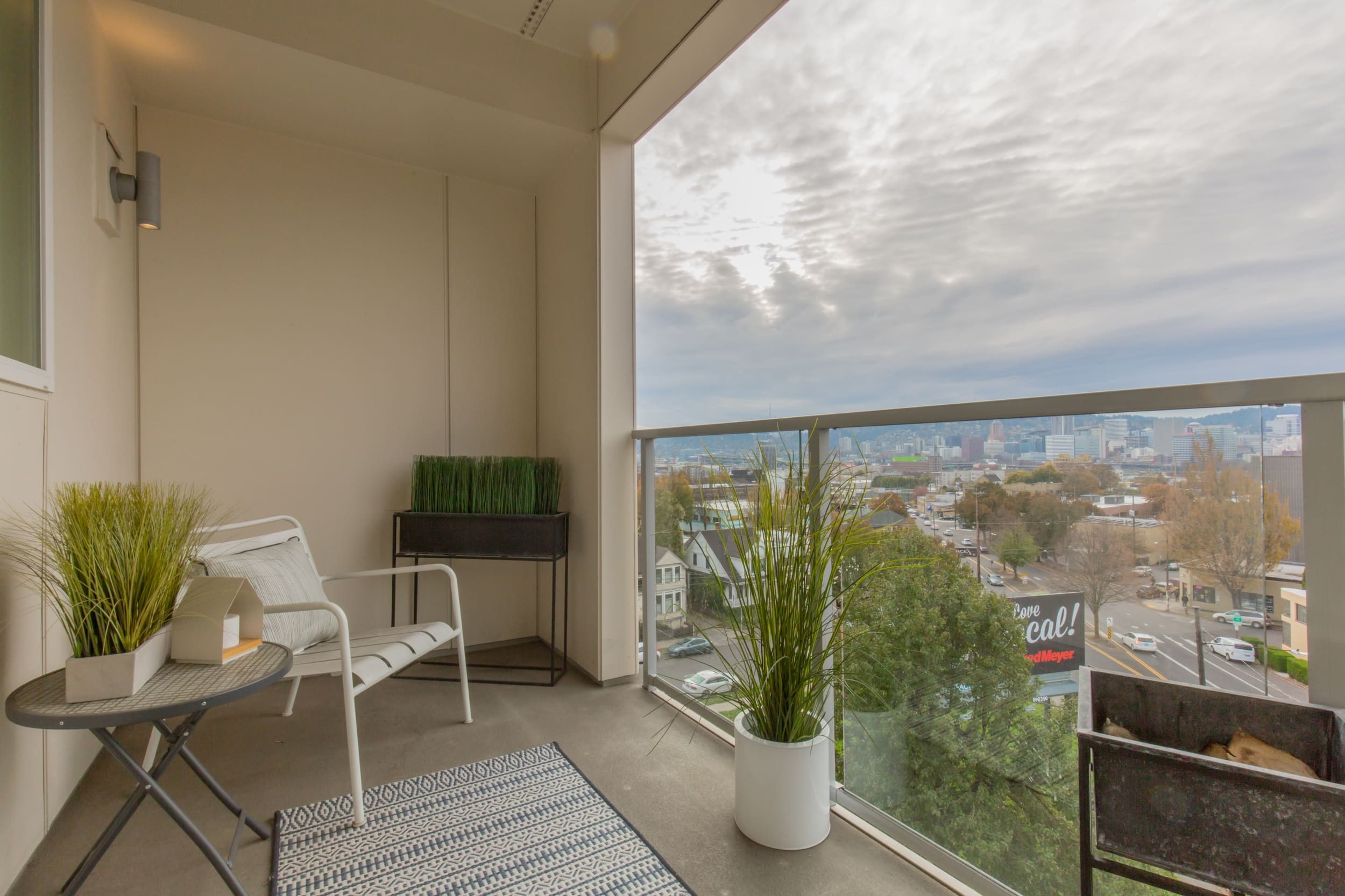 Expansive Balconies with Portland Skyline Views