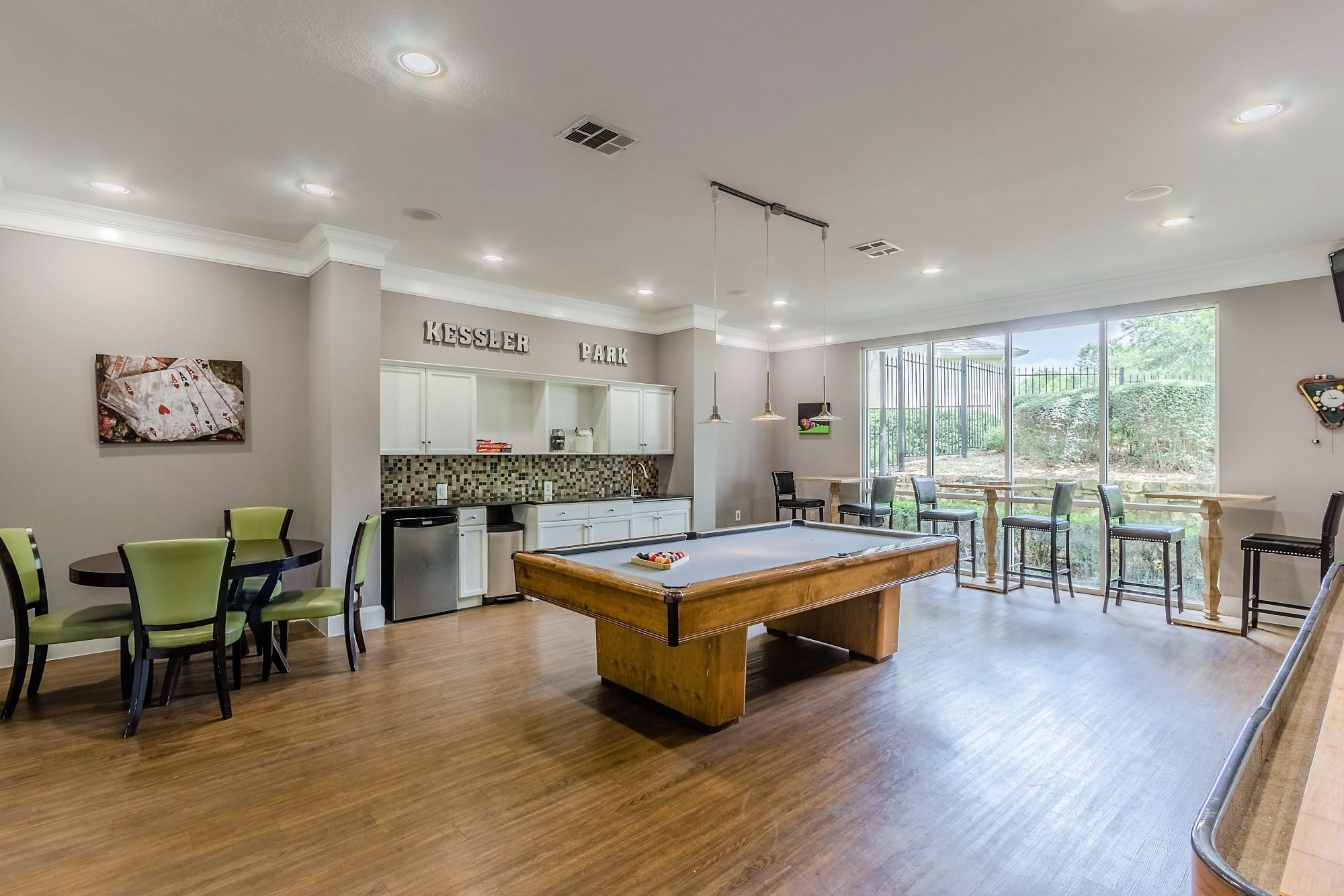 Game Room with Shuffle Board and Billiards